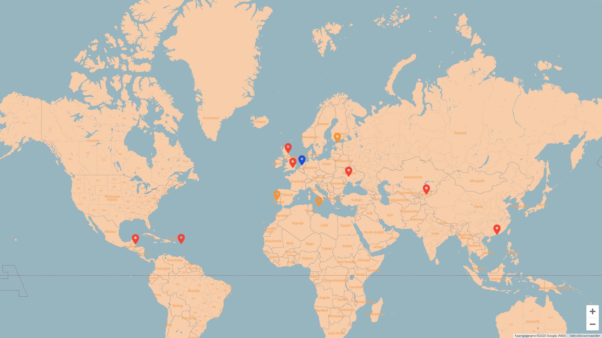 Locaties waar sporen van de onlinefraudeurs naartoe verwijzen