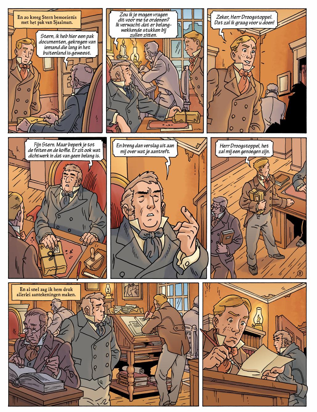 Voorbeeldpagina uit de graphic novel 'Max Havelaar'