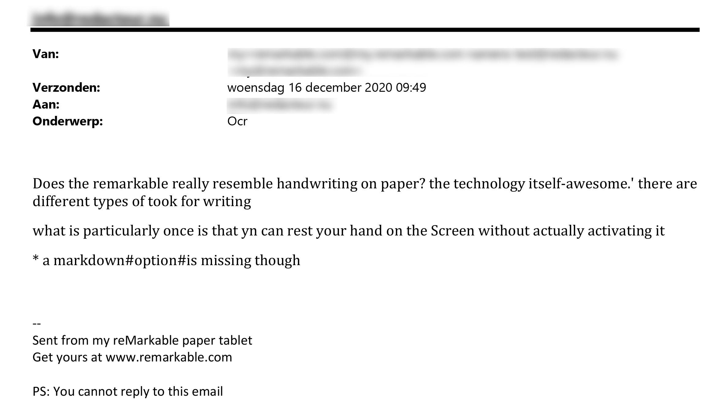 Review van de reMarkable 2 - De omgezette tekst